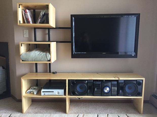 15 diy tv stands you can build easily in a weekend home and gardening ideas. Black Bedroom Furniture Sets. Home Design Ideas
