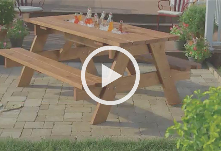 picnic table with build in cooler