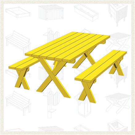 Picnic Table With Two Separate Benches