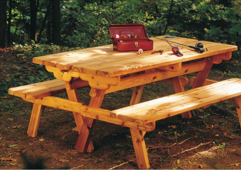 picnic table with bench seating