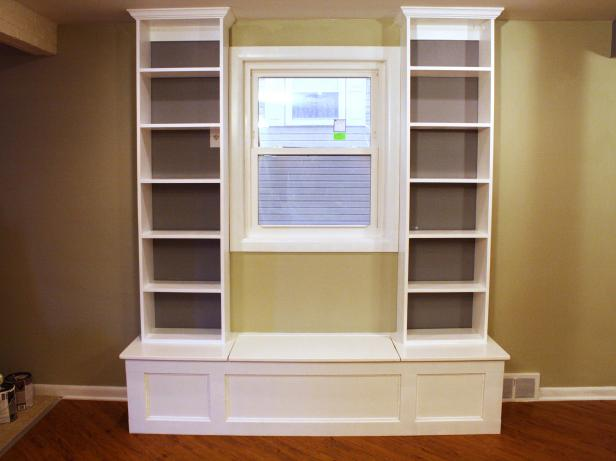 window seat with side shelving