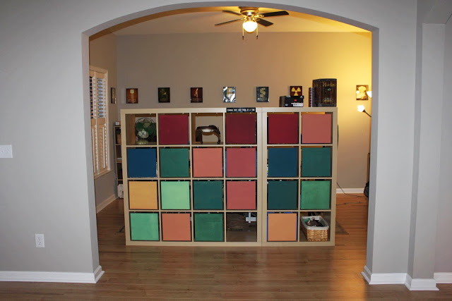 colorful shelving unit