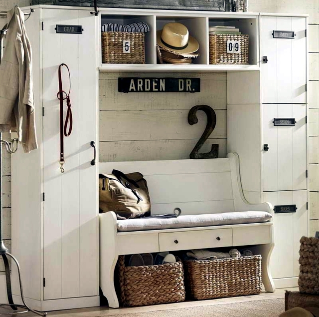 mudroom storage and seating