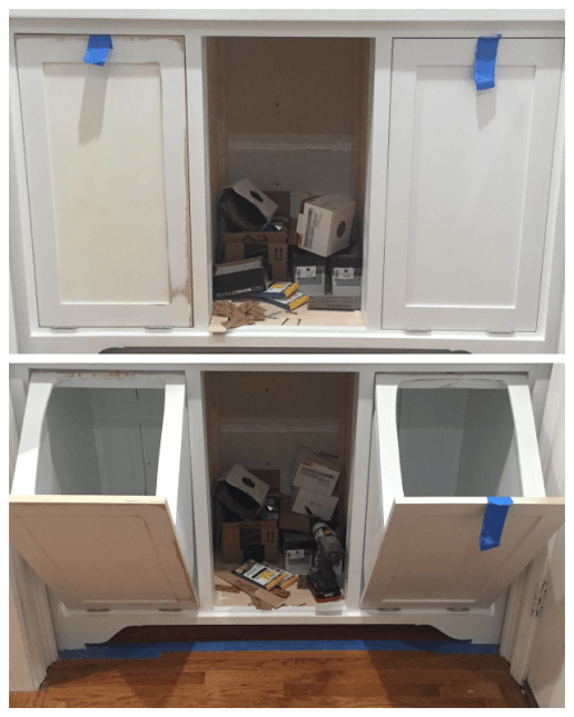 tilt out trash bin cabinet