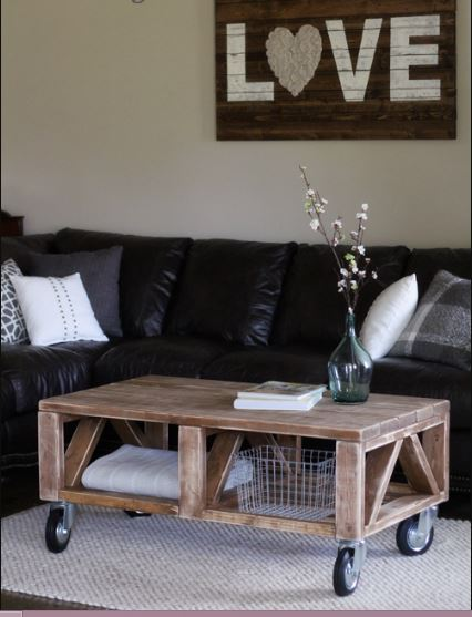 Rustic Saw Coffee Table On Wheels