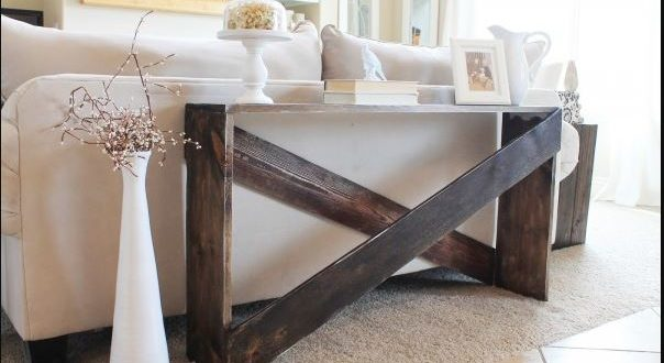 15 diy sofa tables you can build easily home and gardening ideas. Black Bedroom Furniture Sets. Home Design Ideas