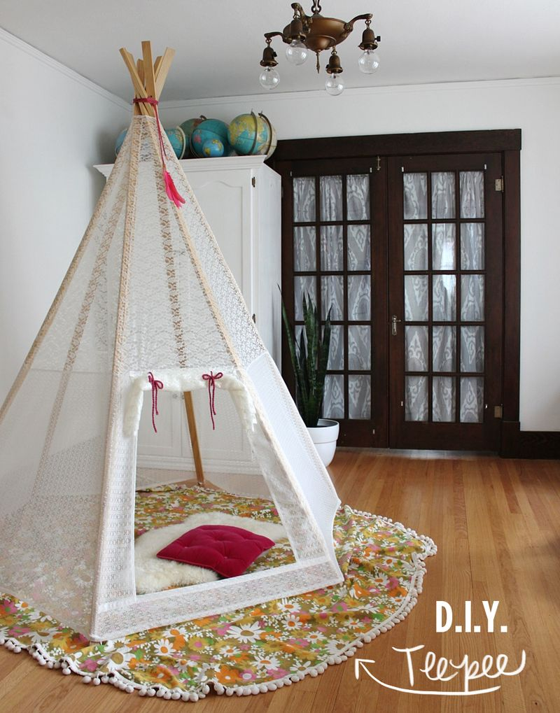 lace covered teepee